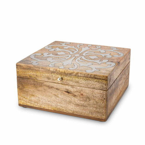 Heritage Mango Wood with Metal Inlay Hinged Lidded Box by GG Collection -Special Order