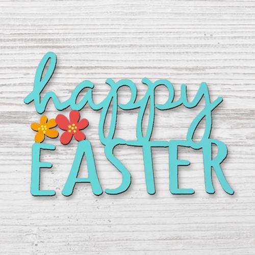 Teal Happy Easter Magnet ROEDA HANDPAINTED ORIGINALS