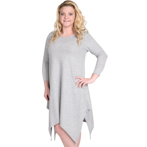 Small Heather Grey Augusta Long Sleeve Tunic by Simply Southern