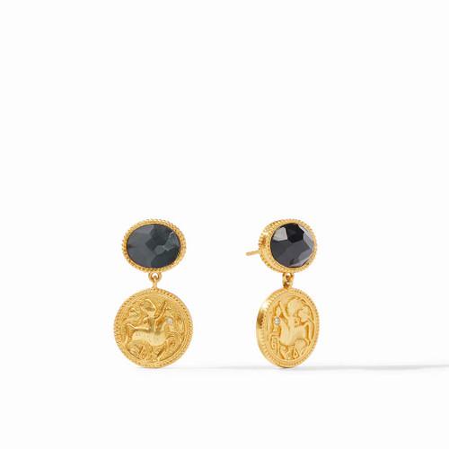 Julie Vos Coin Midi Earrings - Gold Black Onyx