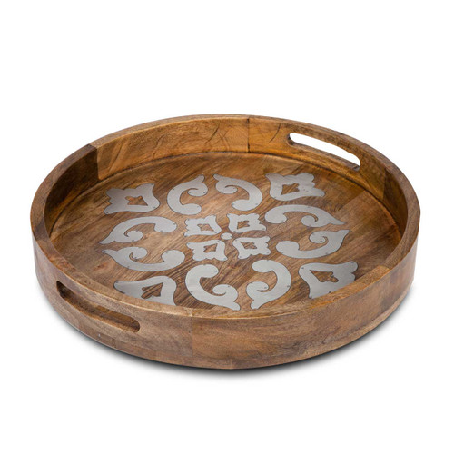 """Wood with Metal Inlay 20"""" Round Tray - GG Collection"""