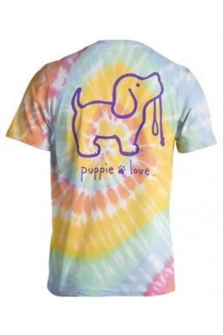 Large Aerial Spiral Pastel Tie Dye #2 Short Sleeve Tee by Puppie Love