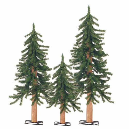 Set of 3 Unlit Alpine Trees by Sterling Tree