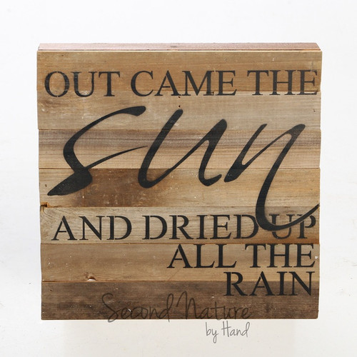 """Out Came The Sun 14"""" x 14"""" Wall Art - Original Wood - Second Nature By Hand"""
