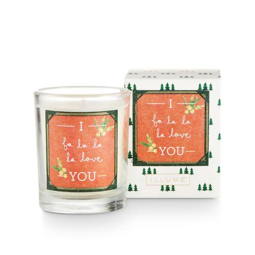 Fa La La La La Boxed Glass Votive by Illume Candle