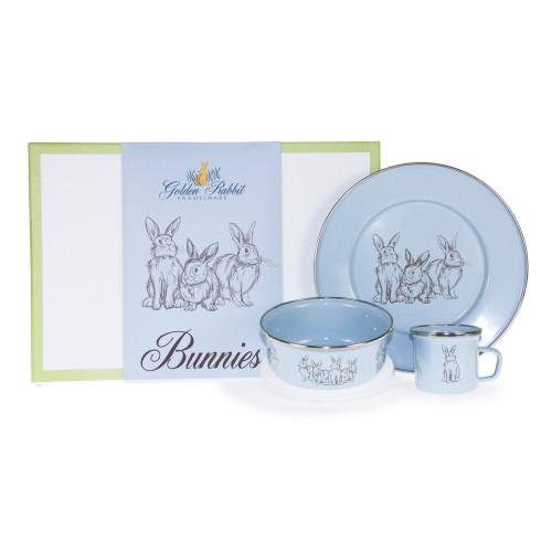 Blue Bunnies 3-Piece Child Gift Set by Golden Rabbit - Special Order