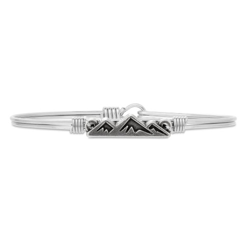Petite Mountain Silver Tone Bangle Bracelet by Luca and Danni