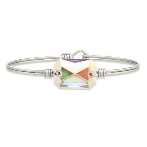 Regular Dylan Silver Tone Bangle Bracelet in Aurora Borealis by Luca and Danni