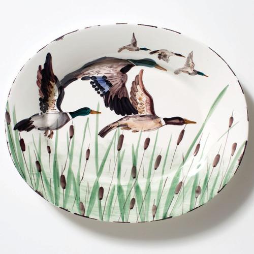Vietri Wildlife Mallard Large Oval Platter - Special Order