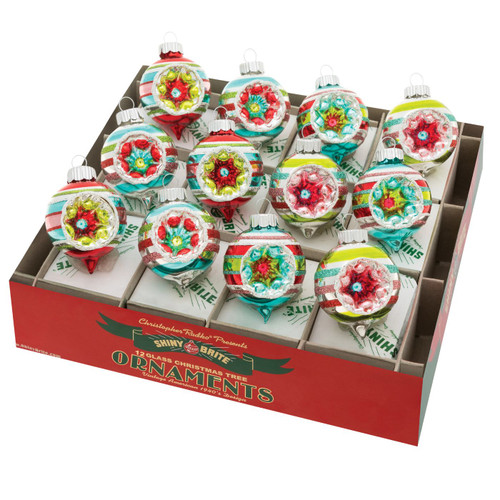 """Festive Fete 1.75"""" Decorated Reflector Rounds  (Set of 12) by Christopher Radko  - Special Order"""