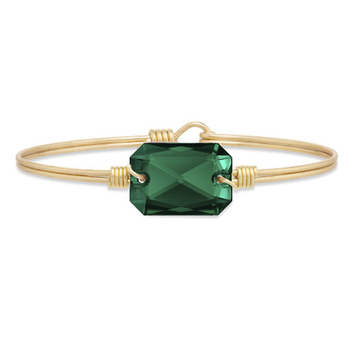 Regular Dylan Brass Tone Bangle Bracelet in Emerald by Luca and Danni