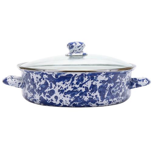 Cobalt Swirl Small Saute Pan by Golden Rabbit - Special Order