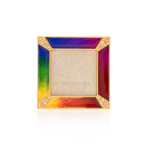 """Jay Strongwater Leland Pave Corner Rainbow 2"""" Frame - Special Order"""