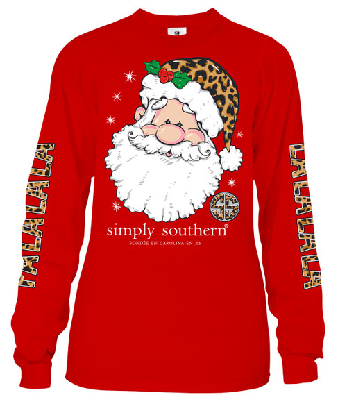 Small Fa La La La Santa Red Long Sleeve Tee by Simply Southern
