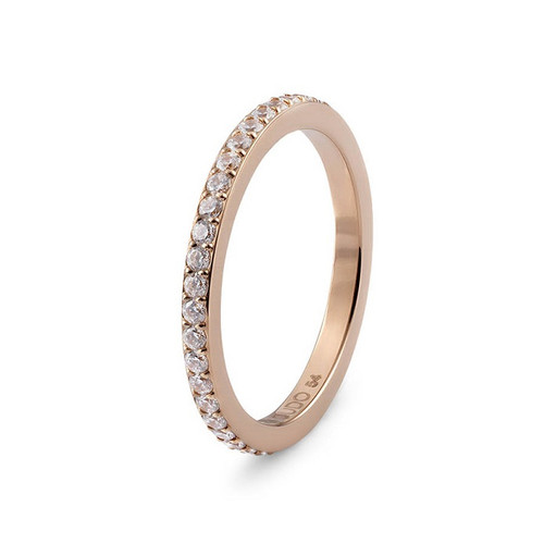 Size 8.5 Rose Gold with Crystal Border Eternity Interchangeable Spacer Ring by Qudo Jewelry