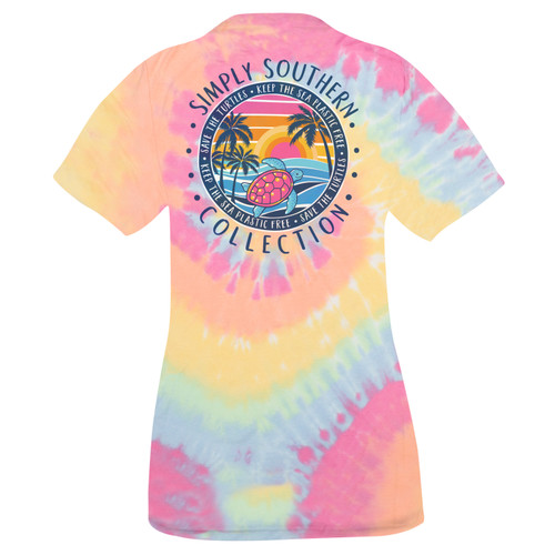 Small Tiedye Save the Turtles Plastic Free Short Sleeve Tee by Simply Southern
