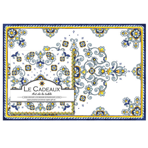 Sorrento Placemats with Dinner Napkins Gift Set (Pack of 20) by Le Cadeaux