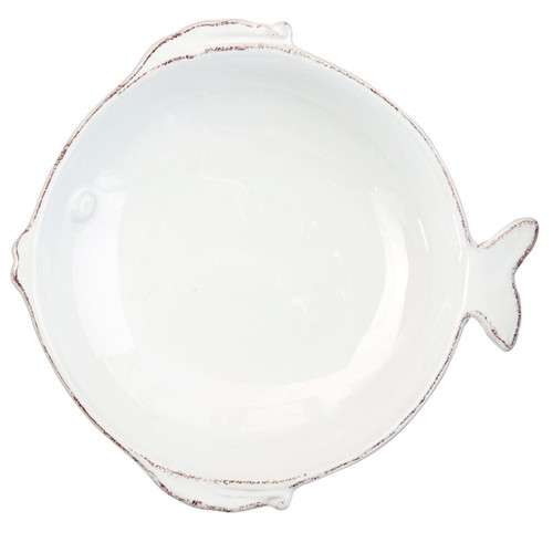 Vietri Lastra Fish White Medium Serving Bowl - Special Order