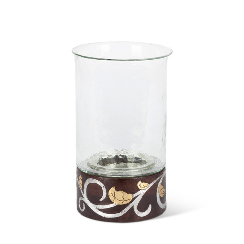 """Gold Leaf Mango Wood with Metal Inlay 12""""H Candleholder - GG Collection"""