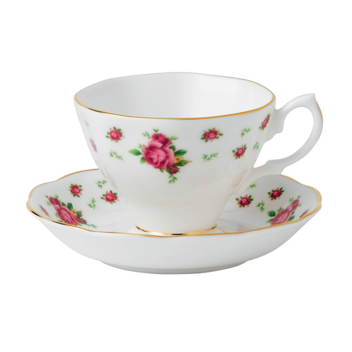 New Country Roses White Teacup & Saucer Set by Royal Albert