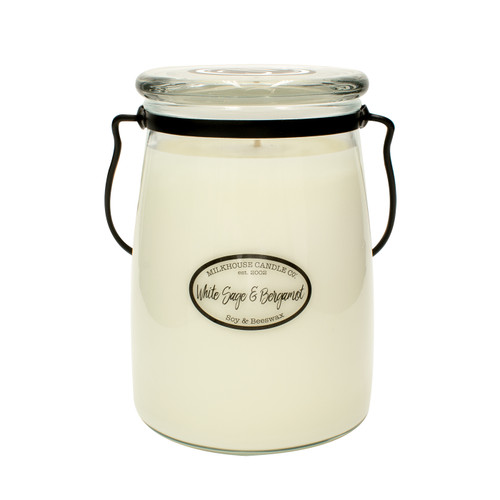 White Sage & Bergamot 22 oz. Butter Jar Candle by Milkhouse Candle Creamery