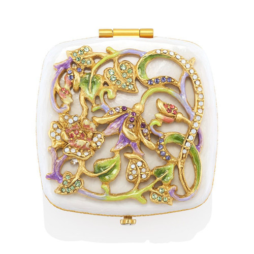 Jay Strongwater Joslyn Flower & Vine Compact - Special Order