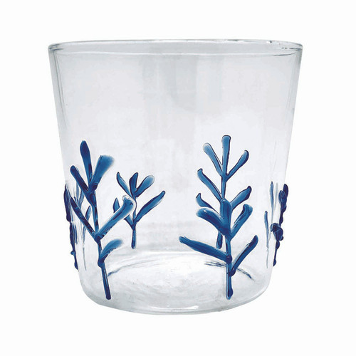 Blue Applique Branches Double Old Fashion Glass by Mariposa - Special Order