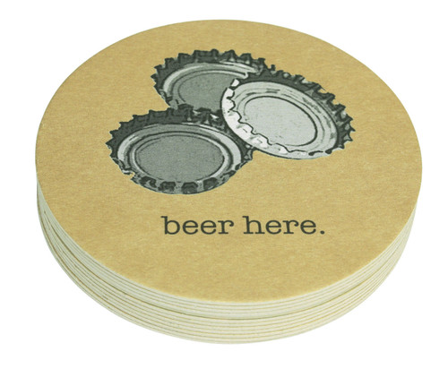 Beer Here 4-Inch Coasters (Pack of 12) by Mariposa