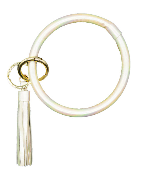 Holographic Pearl Bangle Key Ring by Simply Southern