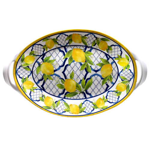 """Palermo 18"""" Large Two-Handled Oval Platter by Le Cadeaux - Special Order"""
