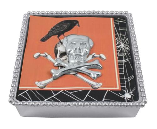 Skull Beaded Napkin Box by Mariposa - Special Order