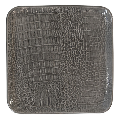 Gray Crocodile Ceramic Small Square Plate by Mariposa - Special Order