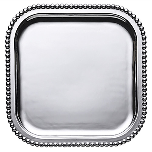 Pearled Large Square Platter by Mariposa - Special Order