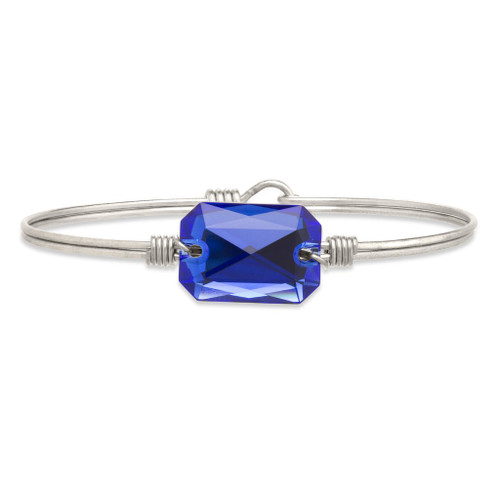 Regular Dylan Silver Tone Bangle Bracelet in Majestic Blue by Luca and Danni