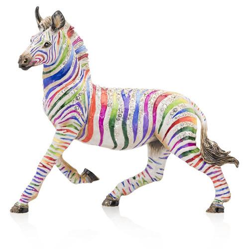 Jay Strongwater Ansel Zebra Rainbow Figurine - Special Order