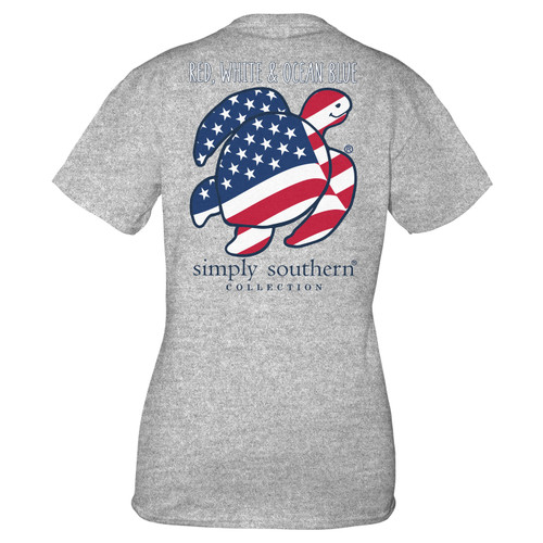 Small Heather Gray Save the Turtles Flag Short Sleeve Tee by Simply Southern