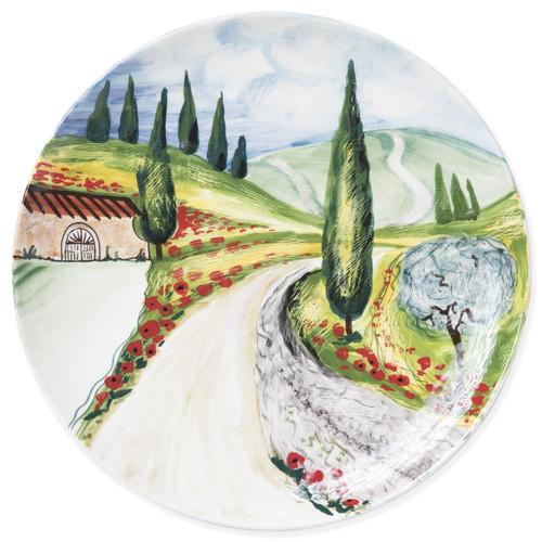 Vietri Landscape Vineyard Round Wall Plate - Special Order