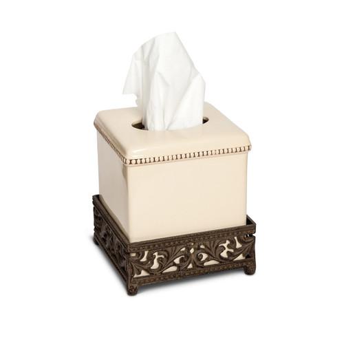 6 in. Tissue Box-Cream - GG Collection