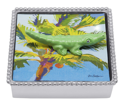 Green Alligator Napkin Box by Mariposa - Special Order