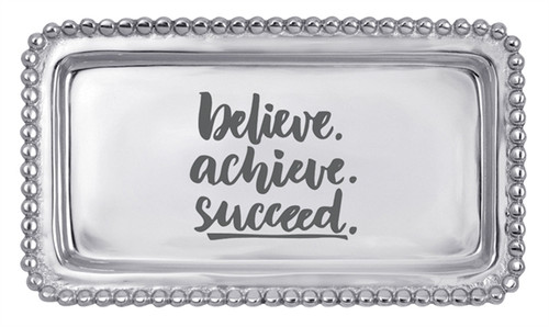 """""""Believe, Achieve, Succeed"""" Beaded Statement Tray by Mariposa - Special Order"""