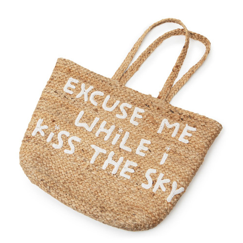 Large Excuse Me While I kiss the Sky Jute Basket with Handles by Sugarboo Designs - Special Order