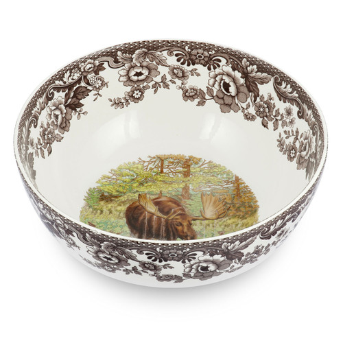 Woodland Moose Round Salad Bowl by Spode - Special Order