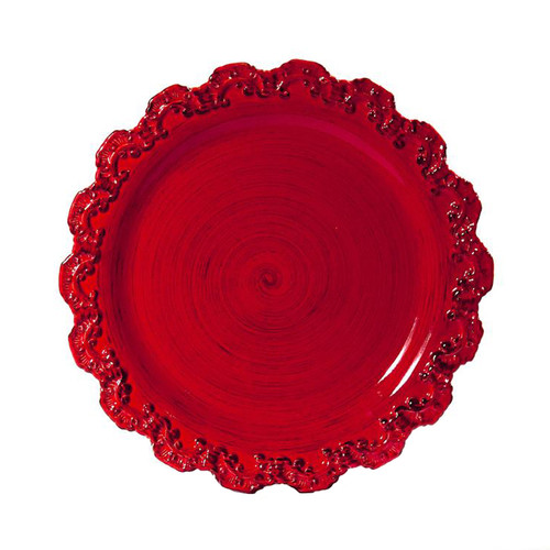"""(A) Baroque Red Charger Plate 13.75""""D - Set of 4 - Intrada Italy - Special Order"""