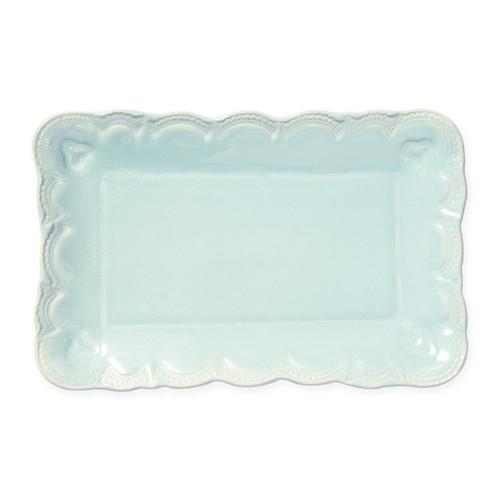 Vietri Incanto Stone Aqua Lace Small Rectangular Platter - Special Order