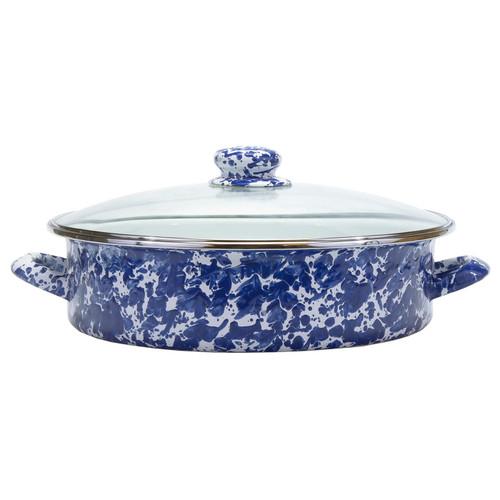 Cobalt Swirl Large Saute Pan by Golden Rabbit - Special Order