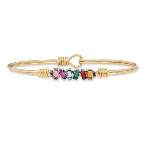 Regular Ombre Mini Hudson Brass Tone Bangle Bracelet by Luca and Danni