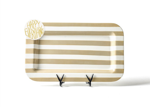 Neutral Stripe Mini Rectangle Entertaining Platter with Happy Everything! Attachment by Happy Everyt