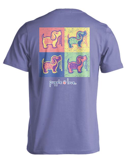Medium Violet Pop Art Pup Short Sleeve Tee by Puppie Love