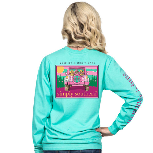 XLarge Jeep Hair Don't Care Aruba Long Sleeve Tee by Simply Southern