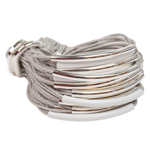 Ice Grey Silver & White Multi Tube Bracelet by Gillian Julius